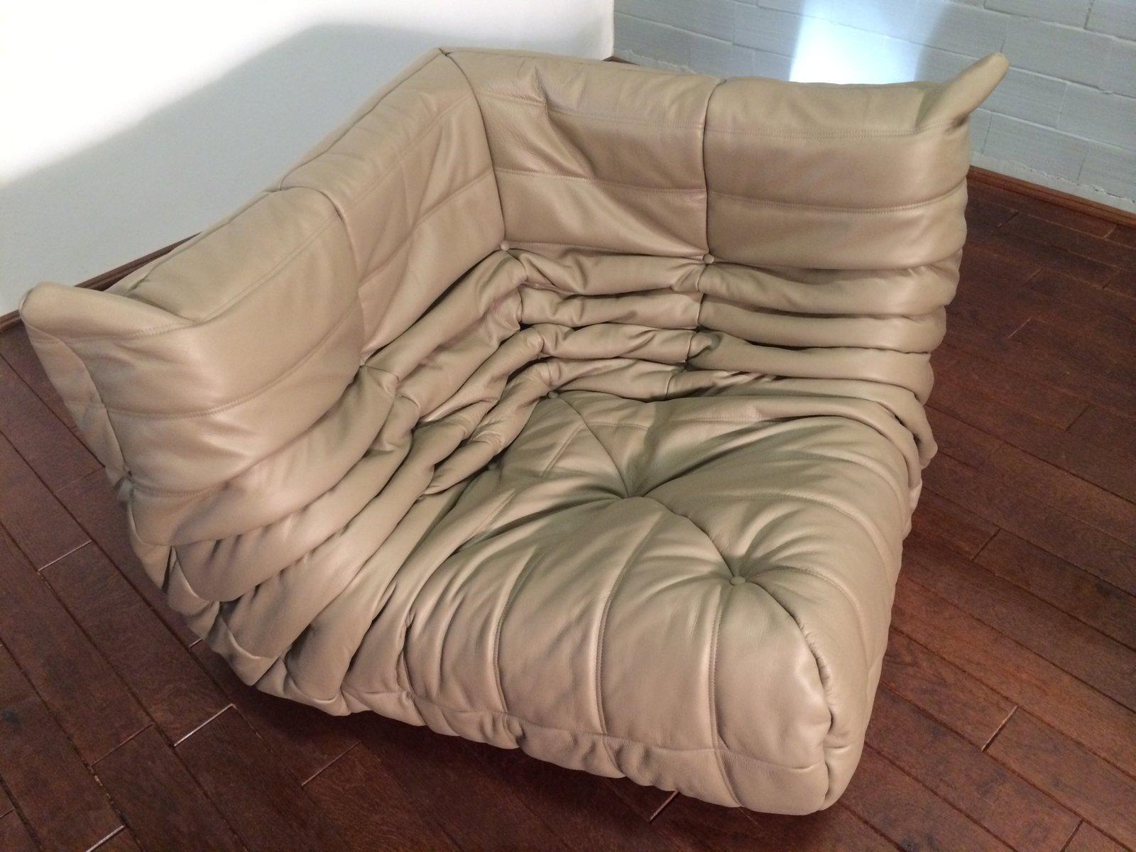 beige leather togo sofa set by michel ducaroy for ligne roset 1974 for sale at pamono. Black Bedroom Furniture Sets. Home Design Ideas