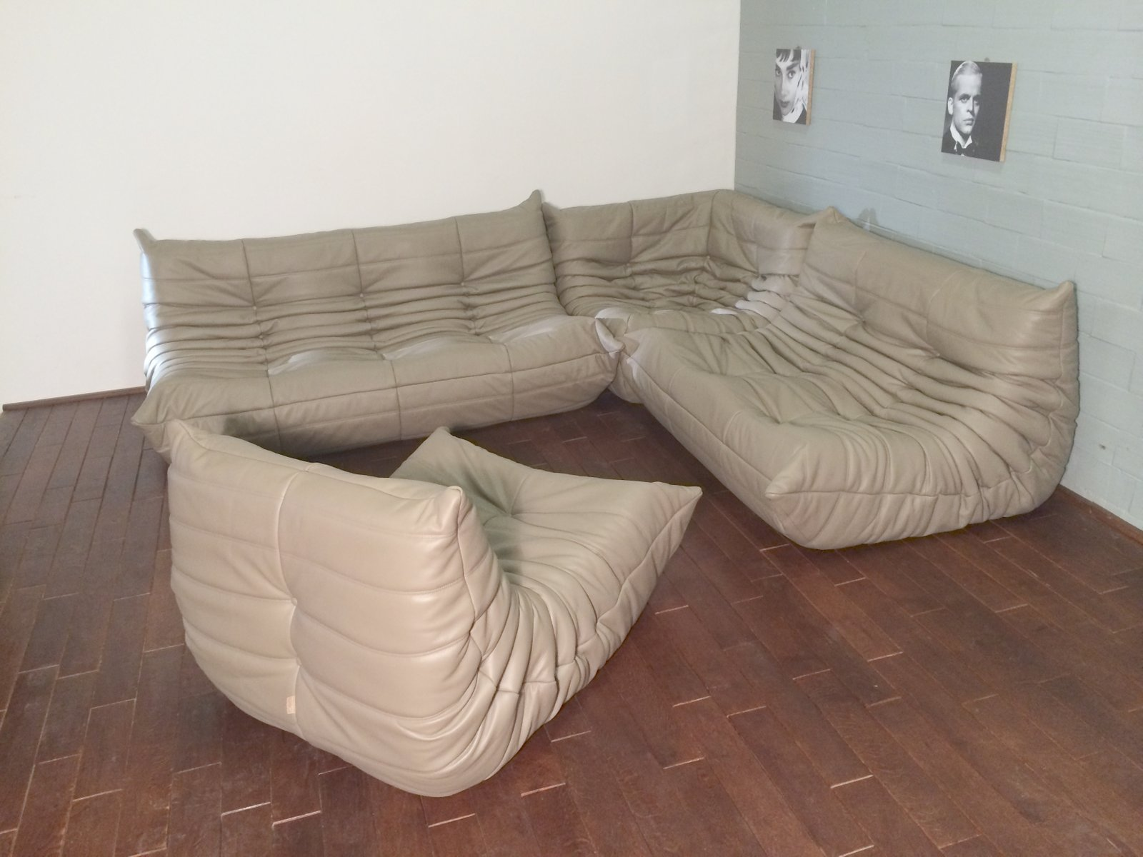 beige leather togo sofa set by michel ducaroy for ligne roset 1974 for sale at pamono. Black Bedroom Furniture Sets. Home Design Ideas