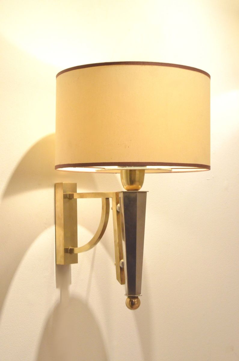 Mid-Century Bicolored Brass Wall Lamps, Set of 2 for sale at Pamono