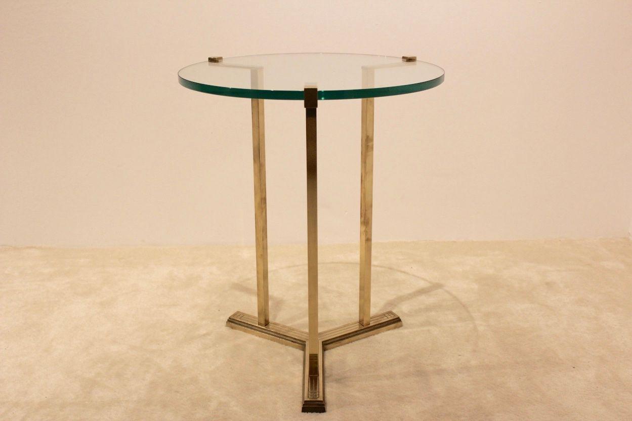 messing glas beistelltisch von peter ghycz 1970er bei pamono kaufen. Black Bedroom Furniture Sets. Home Design Ideas