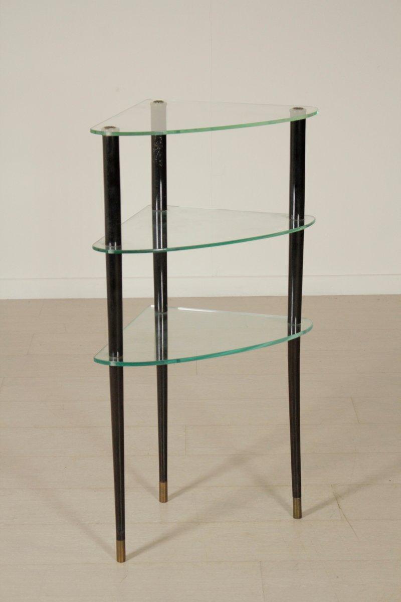 italian ebony stained wood brass glass corner etagere. Black Bedroom Furniture Sets. Home Design Ideas