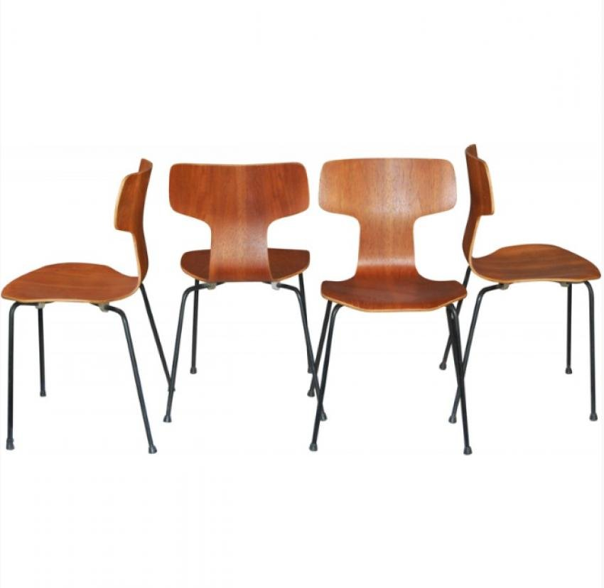 teak st hle von arne jacobsen f r fritz hansen 1960 4er set bei pamono kaufen. Black Bedroom Furniture Sets. Home Design Ideas