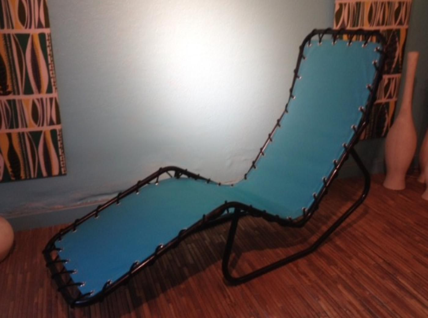 Metal canvas chaise longue 1950s for sale at pamono for Chaise longue 2 personnes
