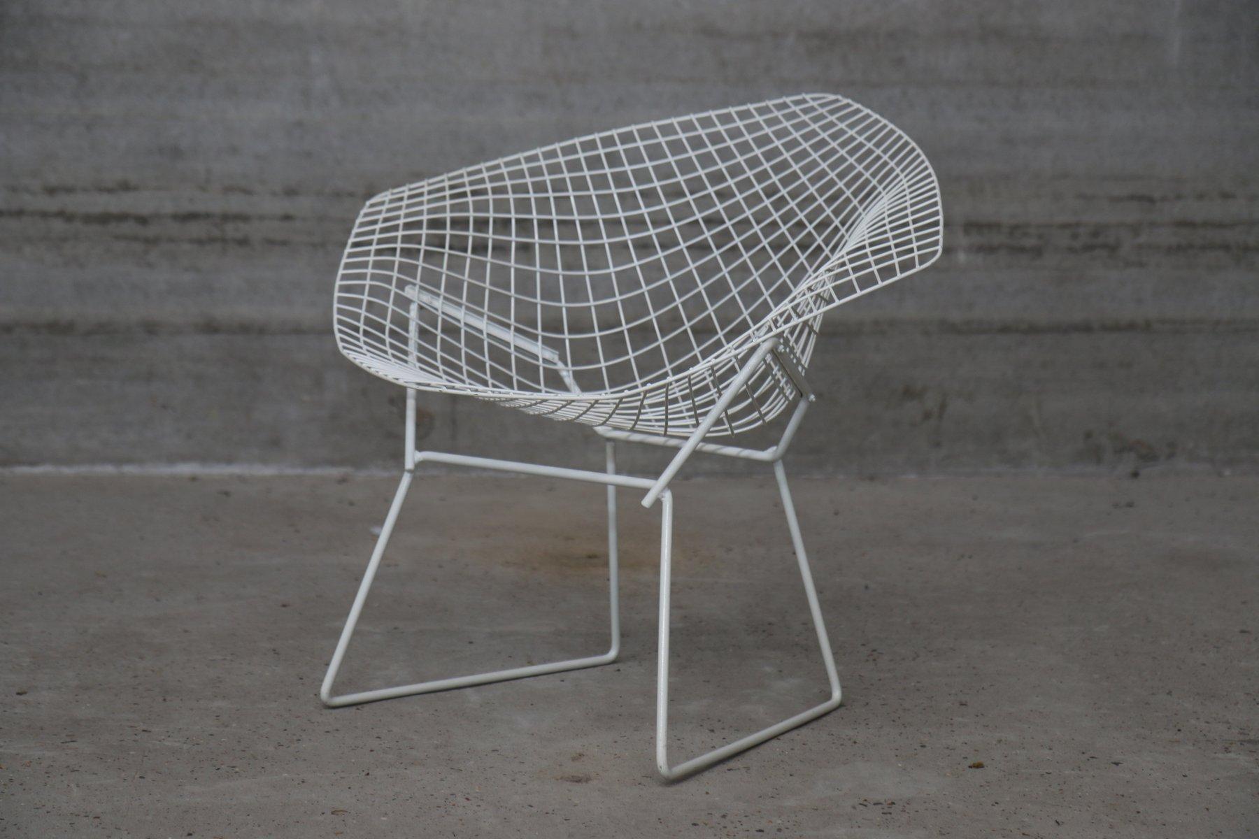 Chaises diamond vintage blanches par harry bertoia pour for Bertoia chaise prix