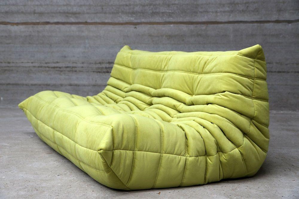 green velvet 3 seater togo sofa by michel ducarot for ligne roset en vente sur pamono. Black Bedroom Furniture Sets. Home Design Ideas