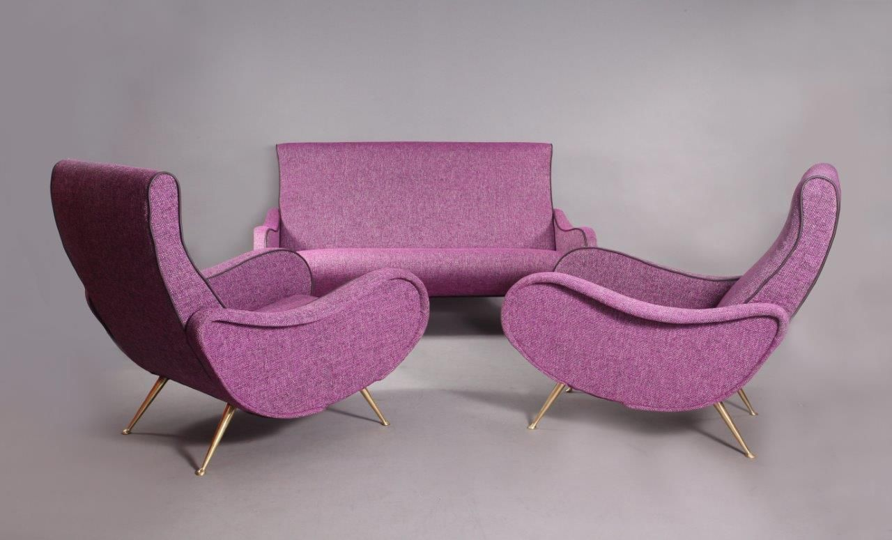Purple/Pink Italian Living Room Set, 1950s for sale at Pamono