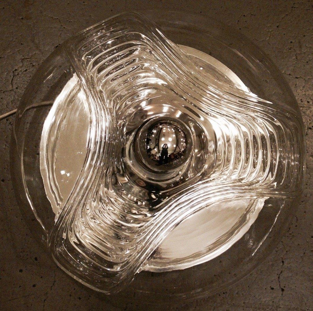 vintage deckenlampe aus glas chrom von peill putzler. Black Bedroom Furniture Sets. Home Design Ideas