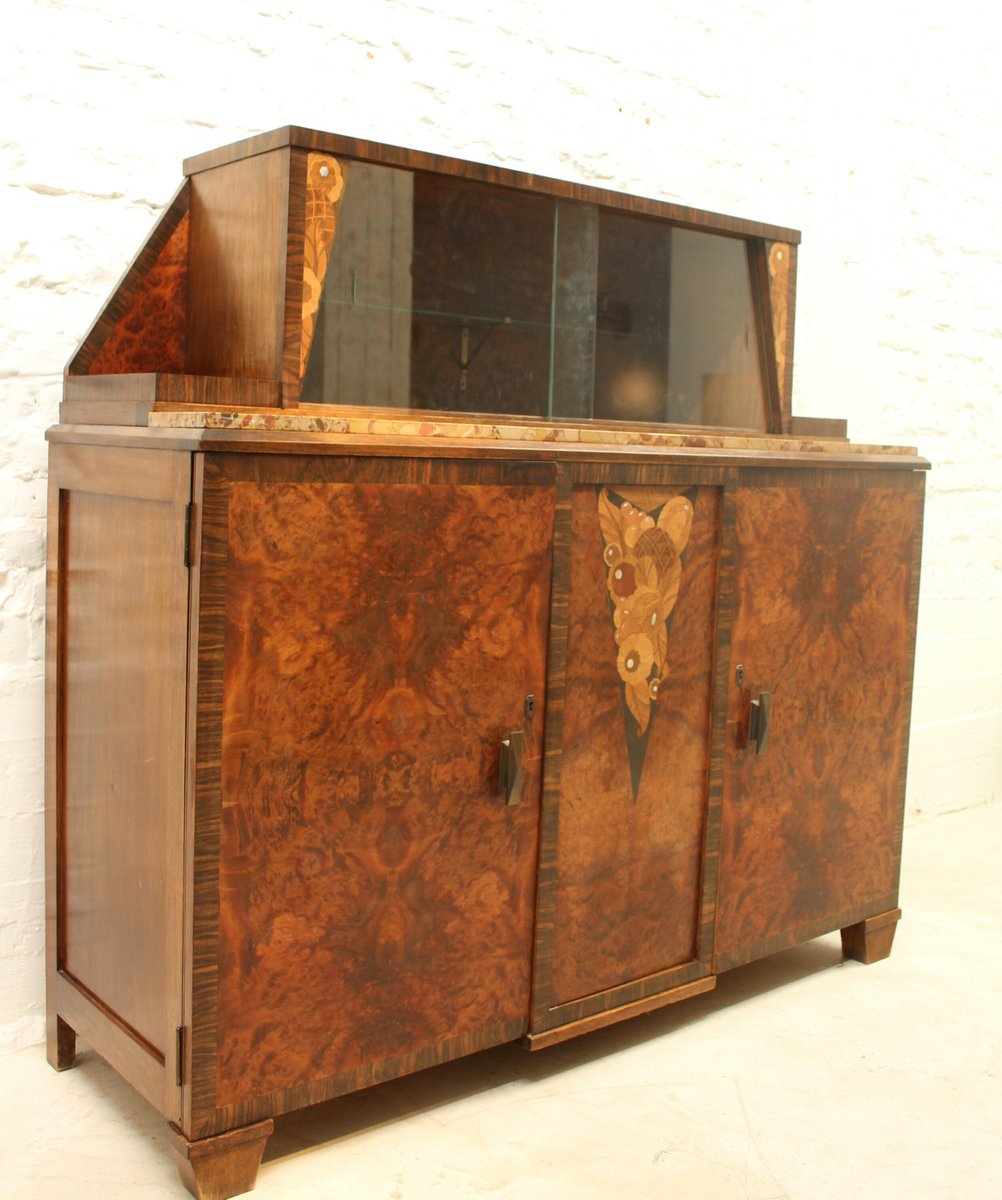 art deco buffet with display cabinet for sale at pamono. Black Bedroom Furniture Sets. Home Design Ideas