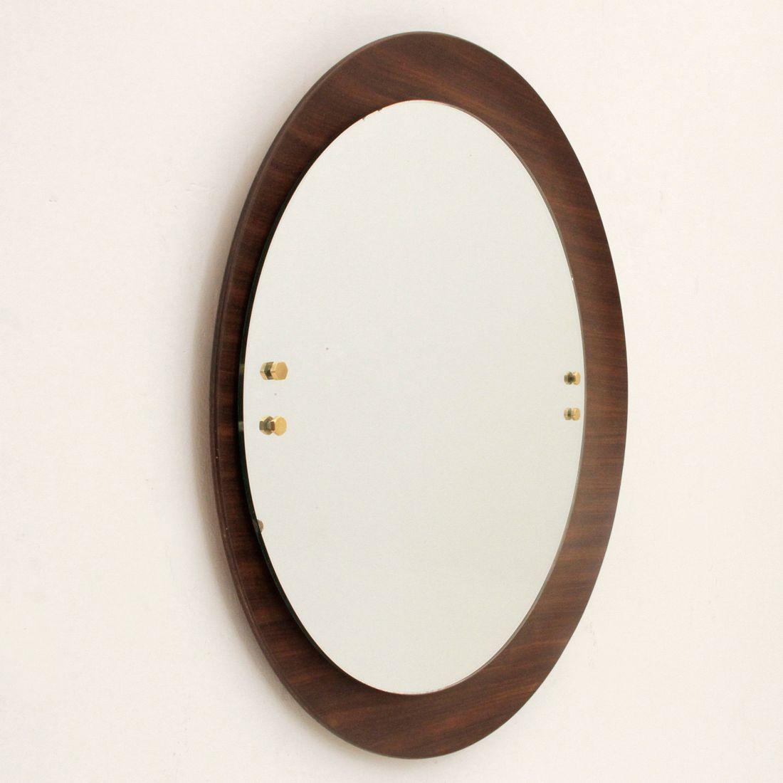 runder italienischer spiegel mit holzrahmen 1960er bei. Black Bedroom Furniture Sets. Home Design Ideas