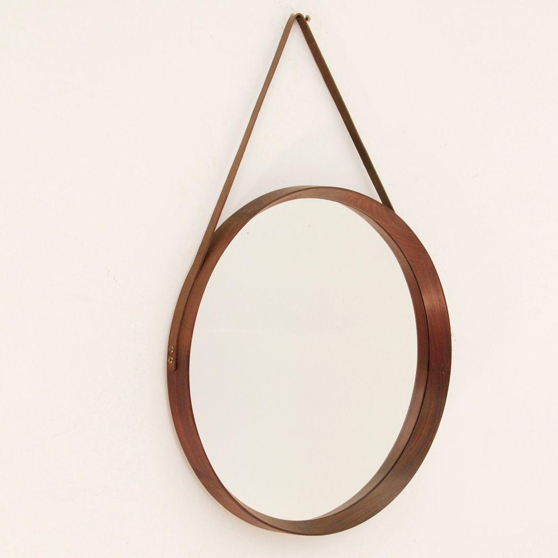 Miroir rond en bois courb italie 1960s en vente sur pamono for Miroir antique en bois