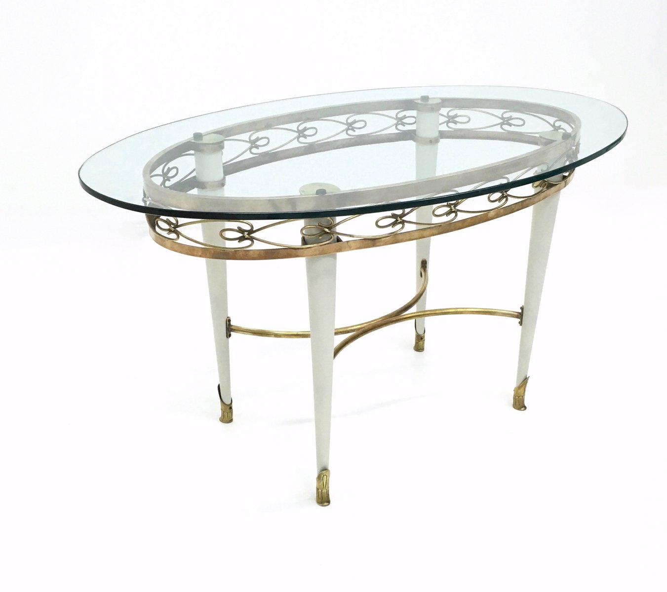 Oval Italian Glass And Brass Coffee Table 1950s For Sale At Pamono