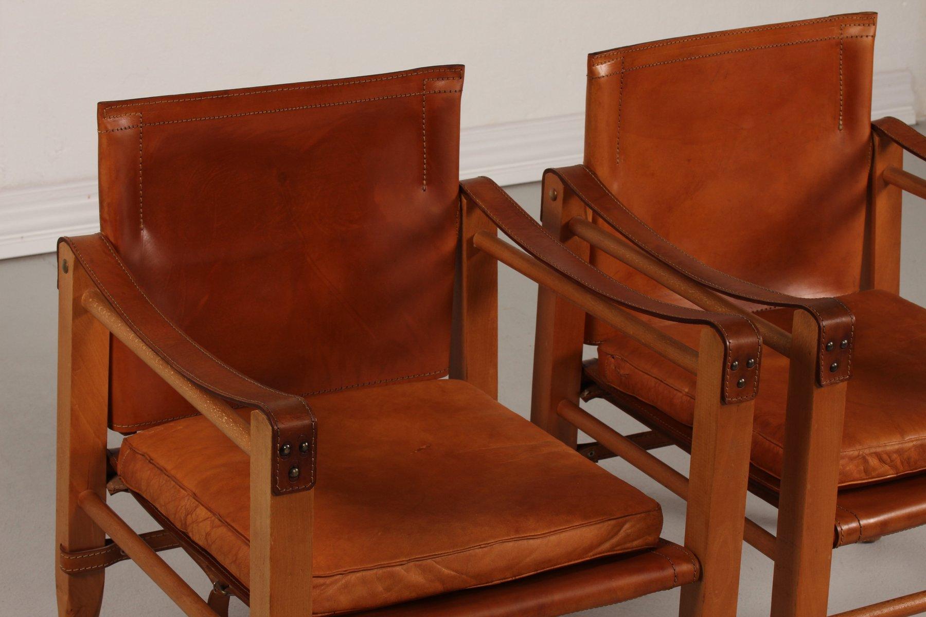 d nische leder safari st hle 1970er 2er set bei pamono. Black Bedroom Furniture Sets. Home Design Ideas