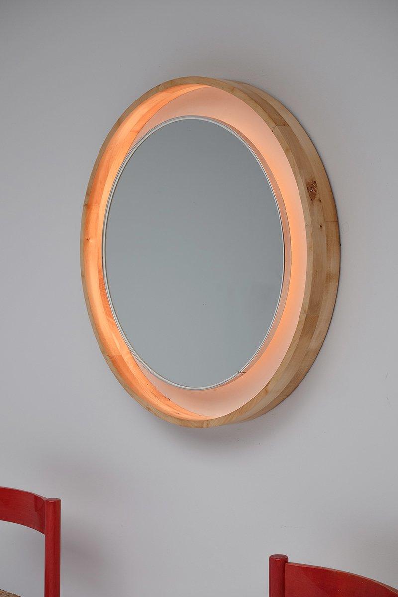 beleuchteter gro er vintage spiegel mit holzrahmen bei pamono kaufen. Black Bedroom Furniture Sets. Home Design Ideas