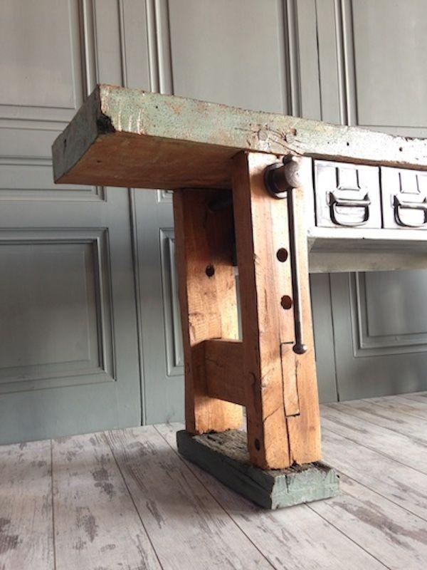 banc de travail vintage industriel avec patine bleue en vente sur pamono. Black Bedroom Furniture Sets. Home Design Ideas
