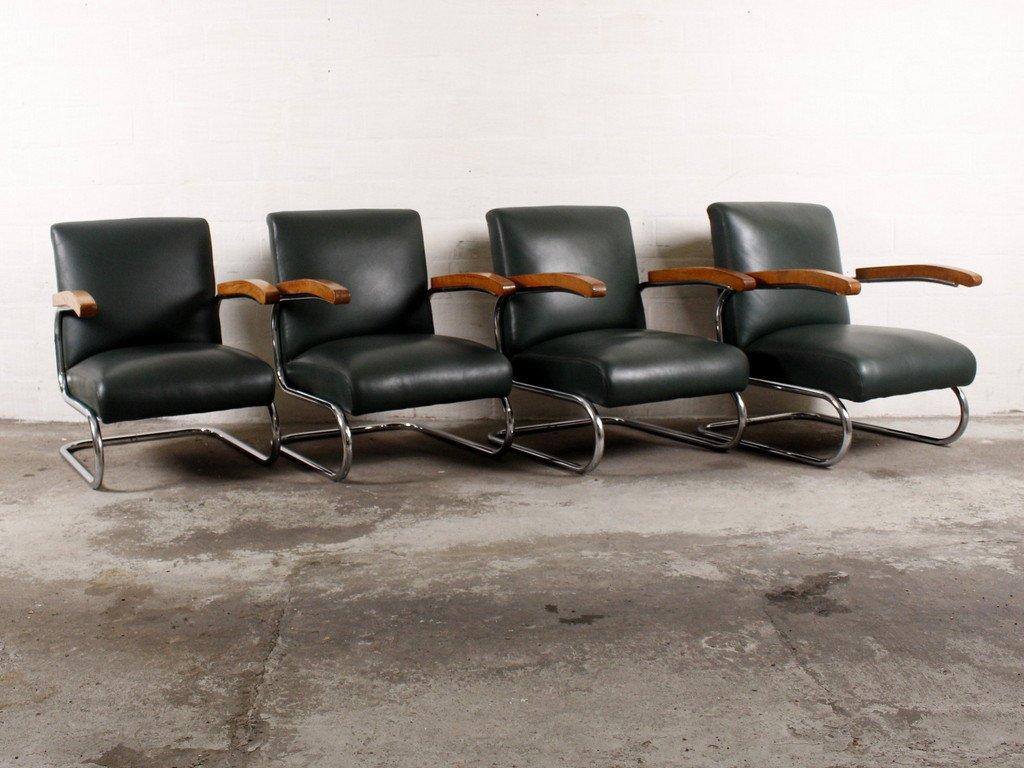 vintage s411 polsterst hle von thonet 4er set bei pamono. Black Bedroom Furniture Sets. Home Design Ideas
