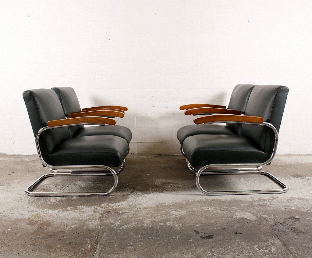 vintage s411 lounge chairs from thonet set of 4 for sale. Black Bedroom Furniture Sets. Home Design Ideas