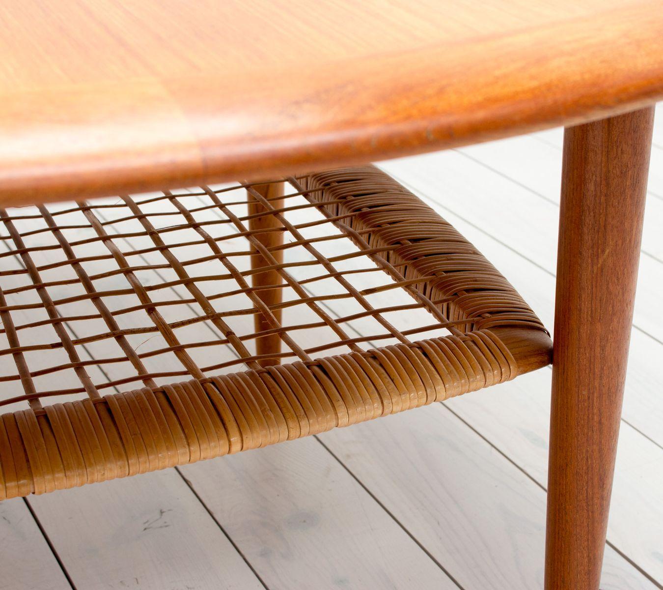 teak u0026 rattan coffee table by johannes andersen for cfc silkeborg 1960s - Rattan Coffee Table