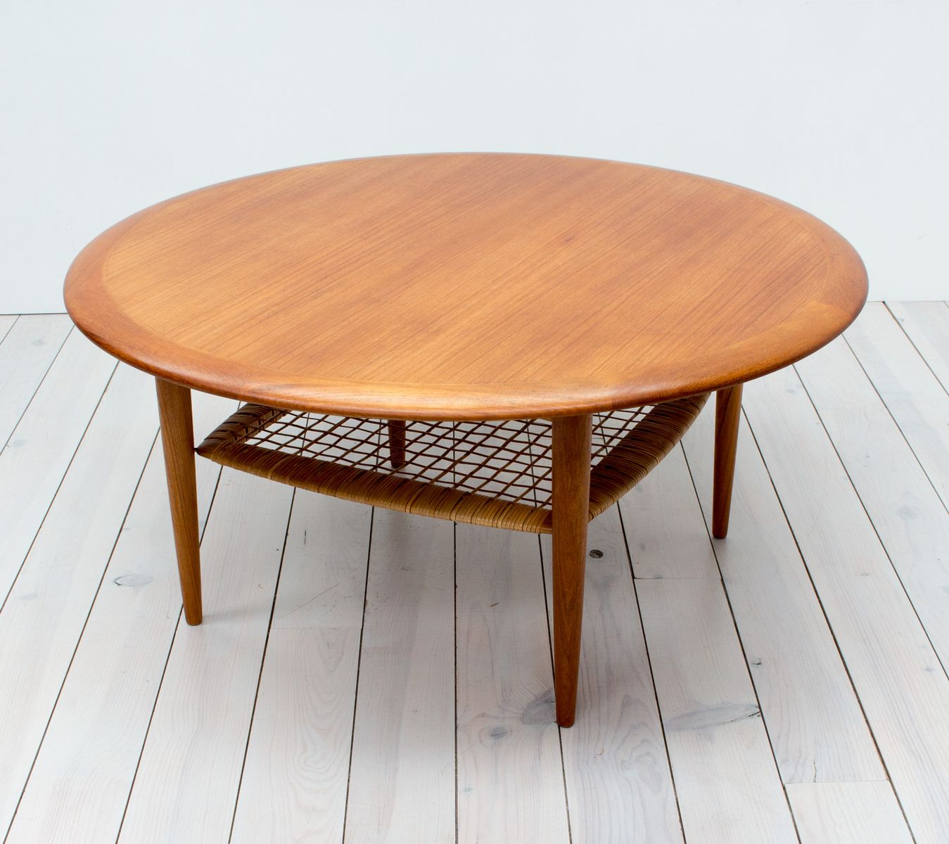 Teak Rattan Coffee Table By Johannes Andersen For Cfc Silkeborg 1960s
