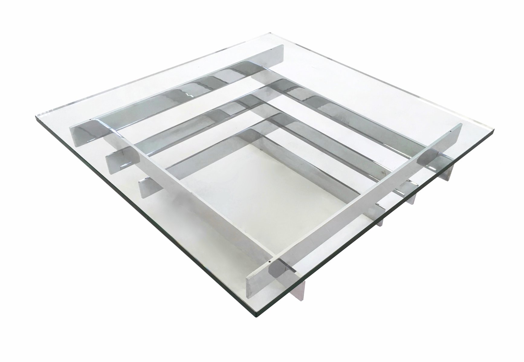 sculpturally stacked chrome coffee table by david hicks s for  - sculpturally stacked chrome coffee table by david hicks s
