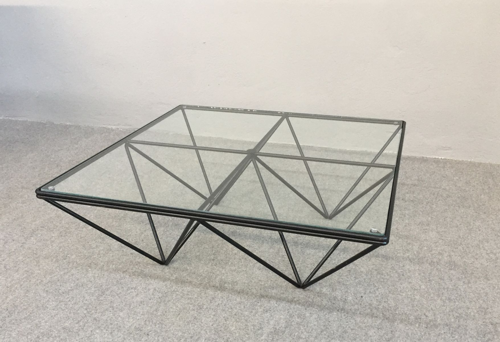 Vintage Iron & Glass Coffee Table 1980s for sale at Pamono