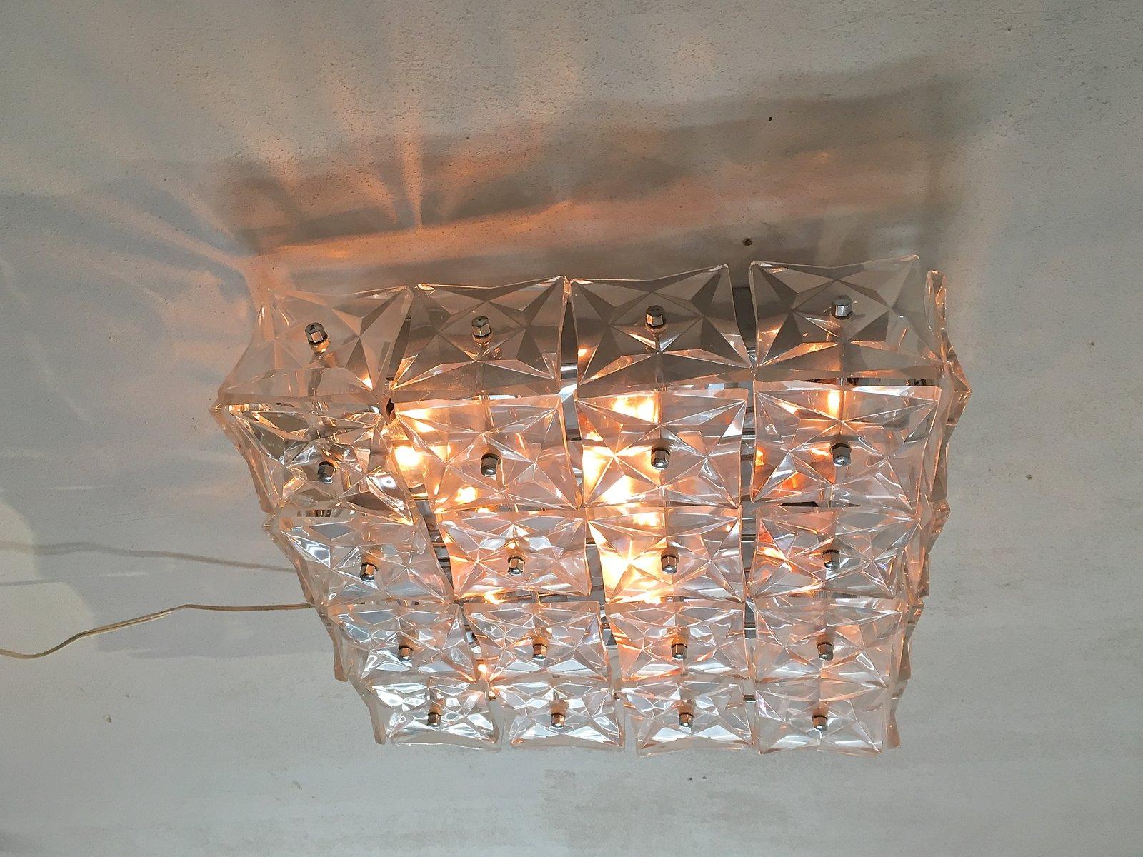 Grande applique murale ou plafonnier en verre cristal de for Applique murale en verre