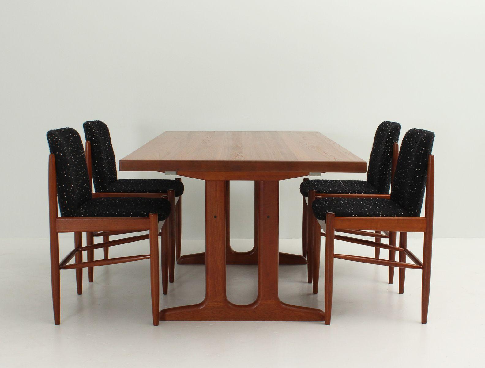 d nische esszimmerst hle aus teak wolle 1960er 4er set bei pamono kaufen. Black Bedroom Furniture Sets. Home Design Ideas