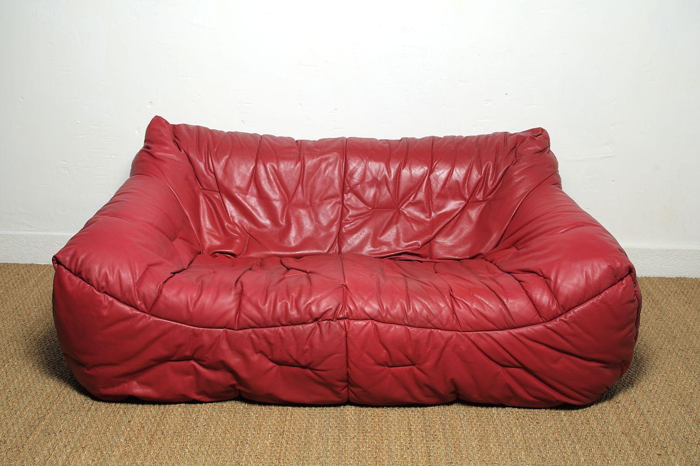 vintage red sofa by hans hopfer for roche et bobois 1980s. Black Bedroom Furniture Sets. Home Design Ideas