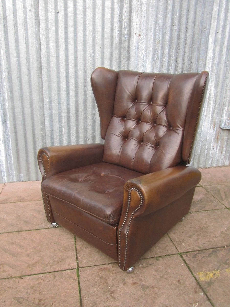 Vintage leather chesterfield style reclining wing back for Leather wingback recliner sale