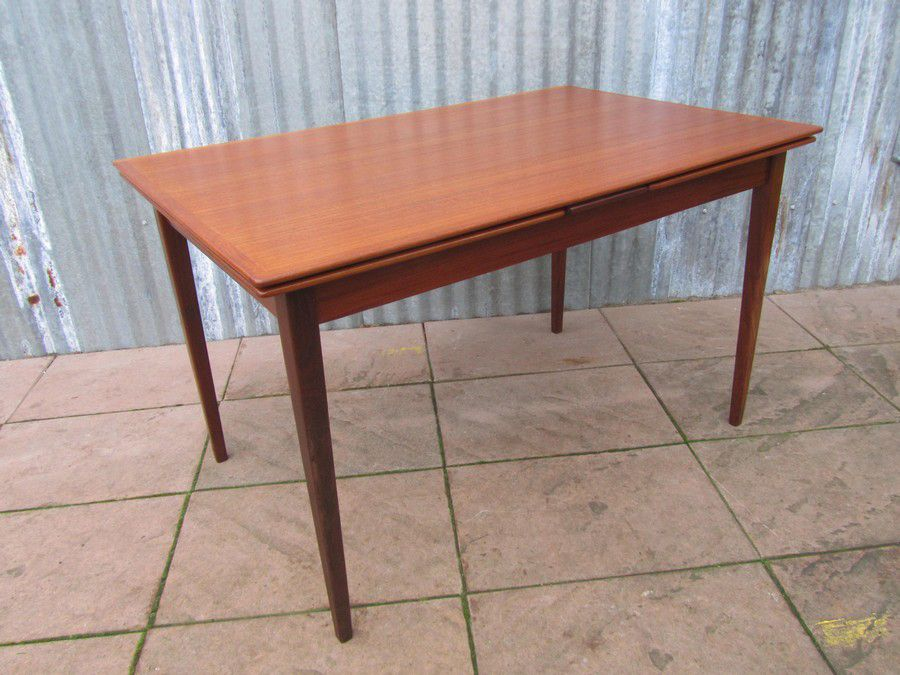 Mid Century Danish Extendable Teak Dining Table For Sale At Pamono