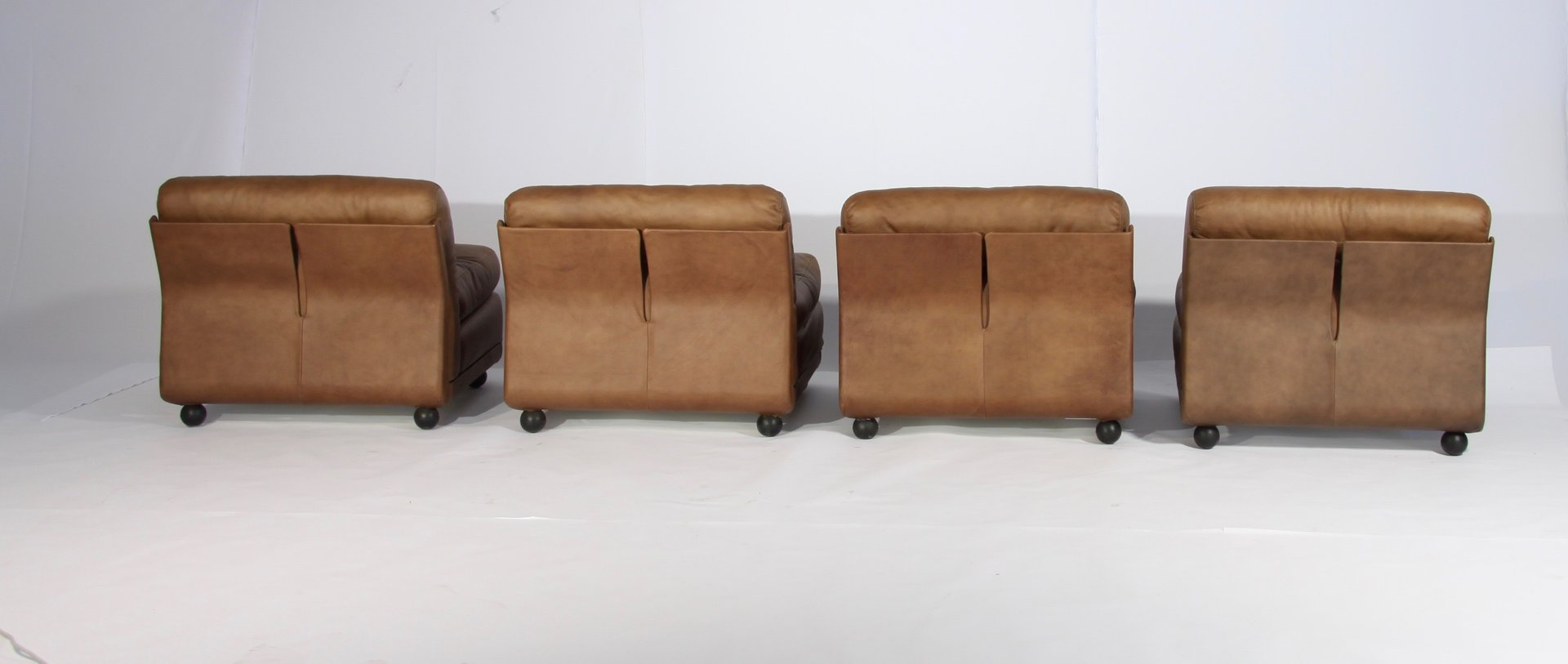 Vintage Model Amanta Leather Lounge Chairs By Mario
