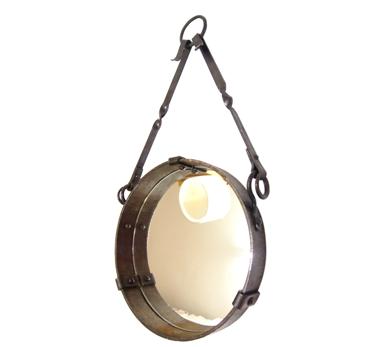 Round french wrought iron wall hanging mirror 1958 for for Hanging mirror