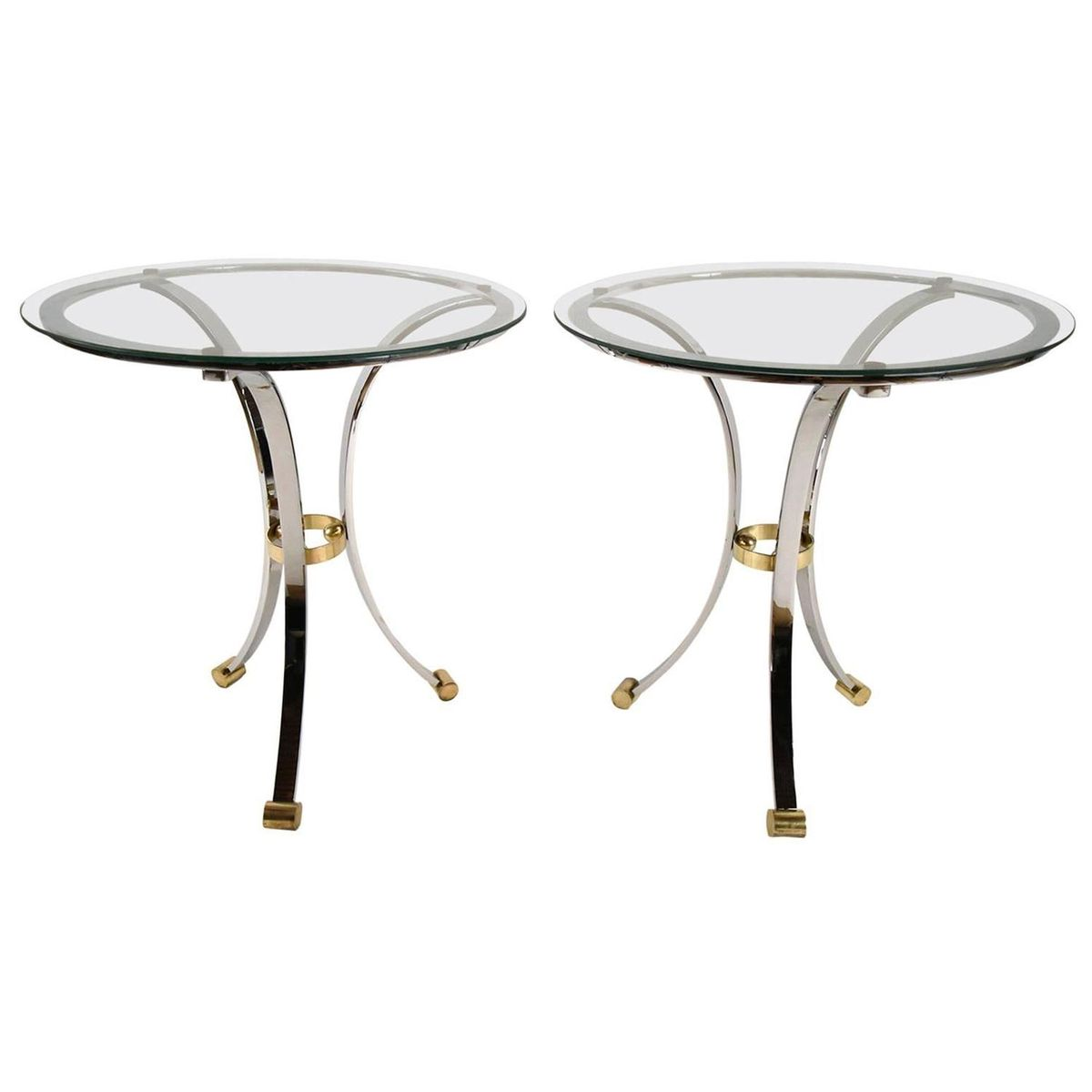 Round Chrome Amp Brass End Tables By Maison Jansen 1970s