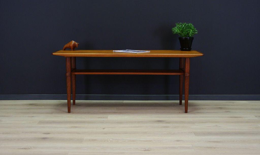 Danish Teak Coffee Table With Shelf 1970s For Sale At Pamono