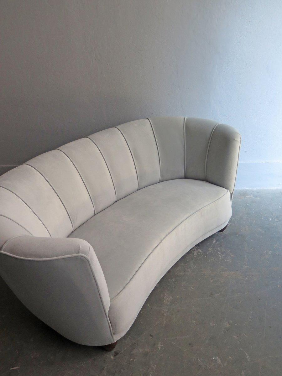 Art Deco Sofa With Light Grey Velvet Upholstery For Sale