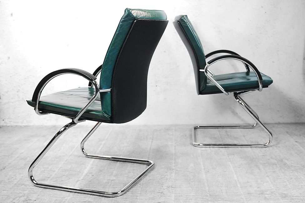 Modern German Green Leather Office Chairs 1980s Set of 3 for