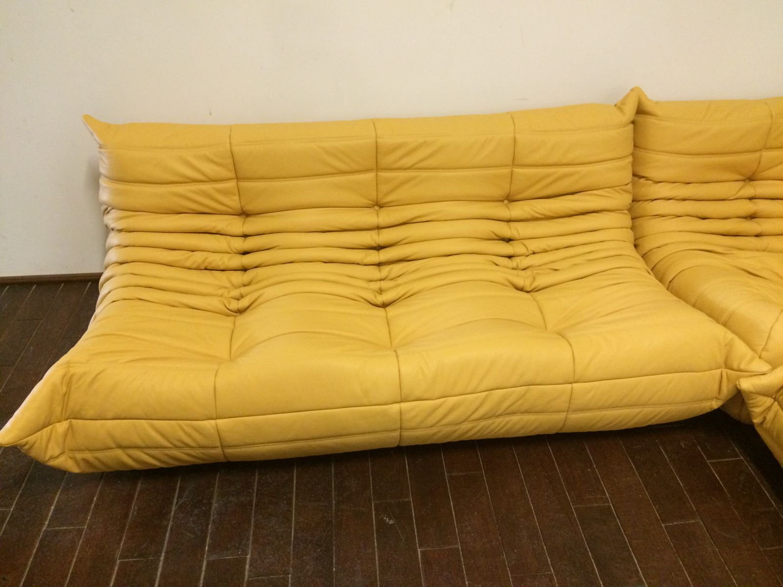 Yellow Leather Togo Sofa Set By Michel Ducaroy For Ligne