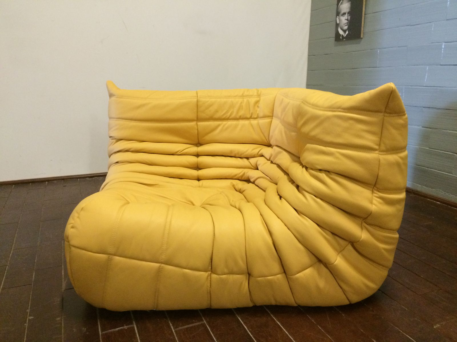 yellow leather togo sofa set by michel ducaroy for ligne roset 1970s for sale at pamono. Black Bedroom Furniture Sets. Home Design Ideas