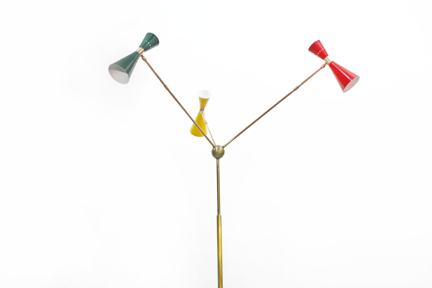 italienische stehlampe mit drei leuchten 1950er bei pamono kaufen. Black Bedroom Furniture Sets. Home Design Ideas