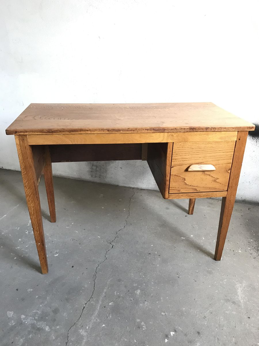 vintage schreibtisch aus eiche 1950er bei pamono kaufen. Black Bedroom Furniture Sets. Home Design Ideas