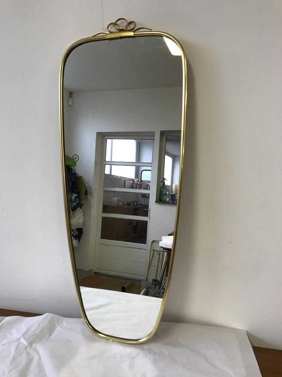 Asymmetrischer vintage spiegel mit messingrahmen 1960er for Spiegel mit messingrahmen