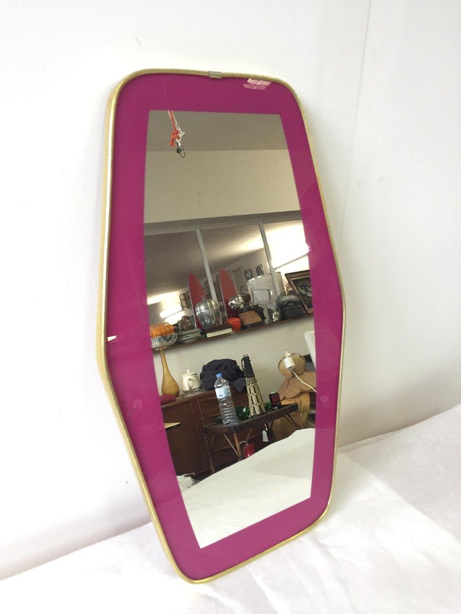 vintage spiegel mit siebdruck rahmen 1950er bei pamono kaufen. Black Bedroom Furniture Sets. Home Design Ideas
