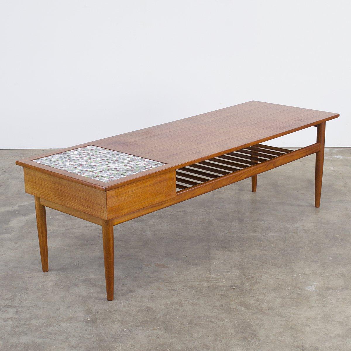table basse en teck et en mosa que 1960s en vente sur pamono. Black Bedroom Furniture Sets. Home Design Ideas