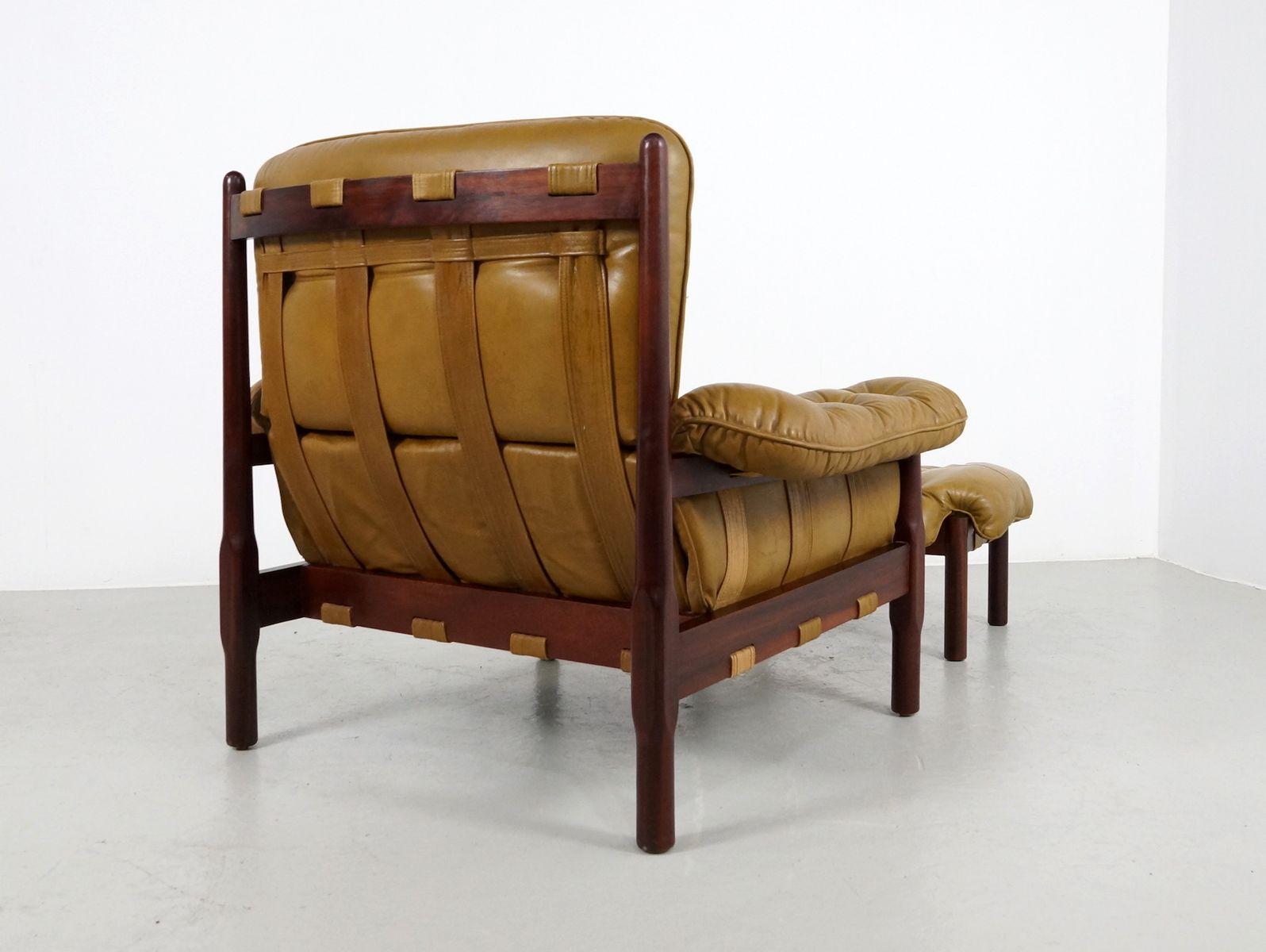 sessel und ottomane in palisander leder 1960er bei. Black Bedroom Furniture Sets. Home Design Ideas