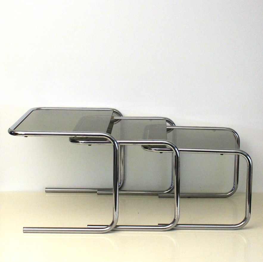 vintage chrome smoked glass nesting tables 1970s for sale at pamono. Black Bedroom Furniture Sets. Home Design Ideas