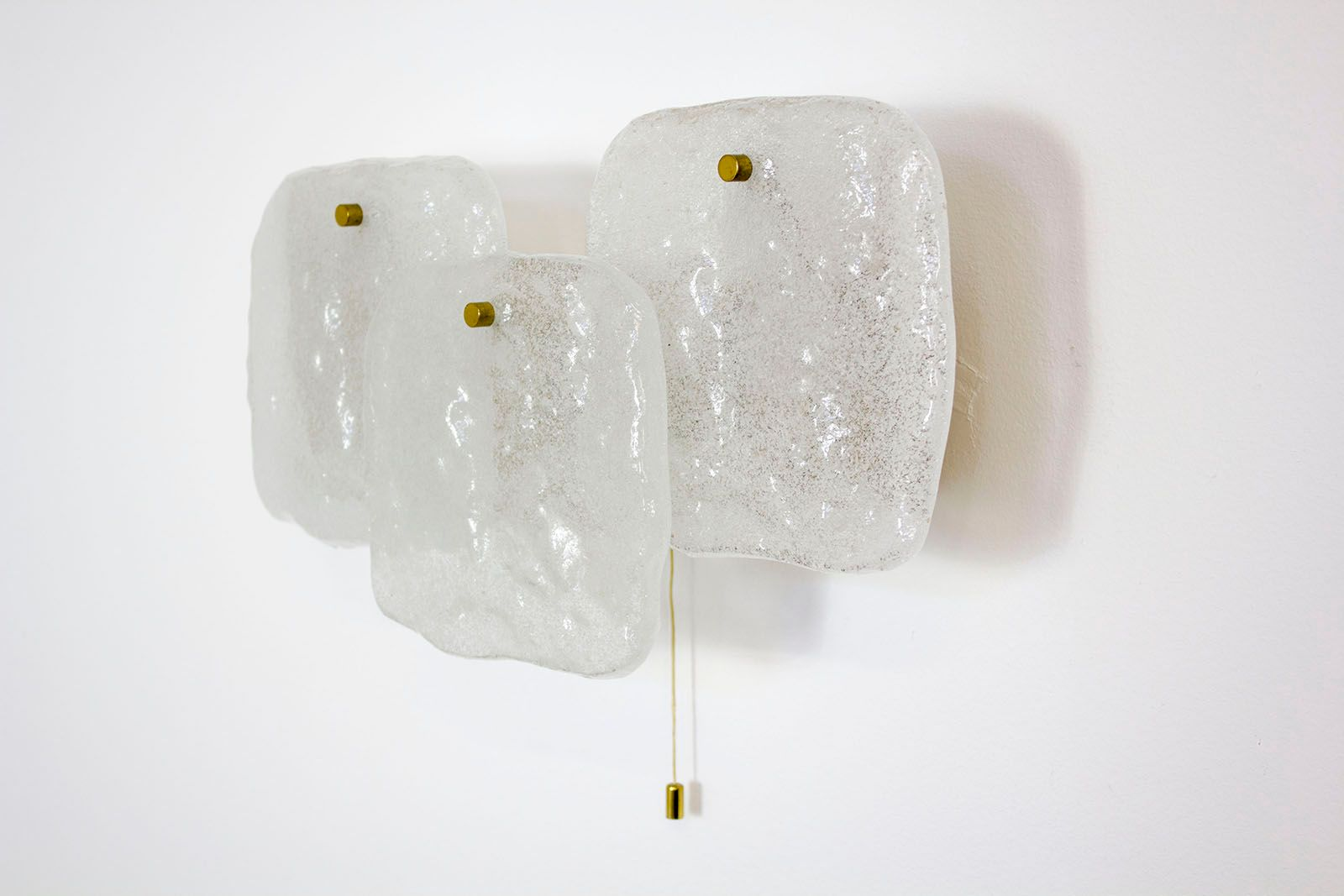 Mid century modern large ice glass wall light from kalmar for Large glass walls