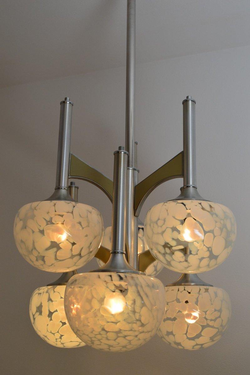 modernistischer italienischer kugel kronleuchter aus chrom glas 1970er bei pamono kaufen. Black Bedroom Furniture Sets. Home Design Ideas