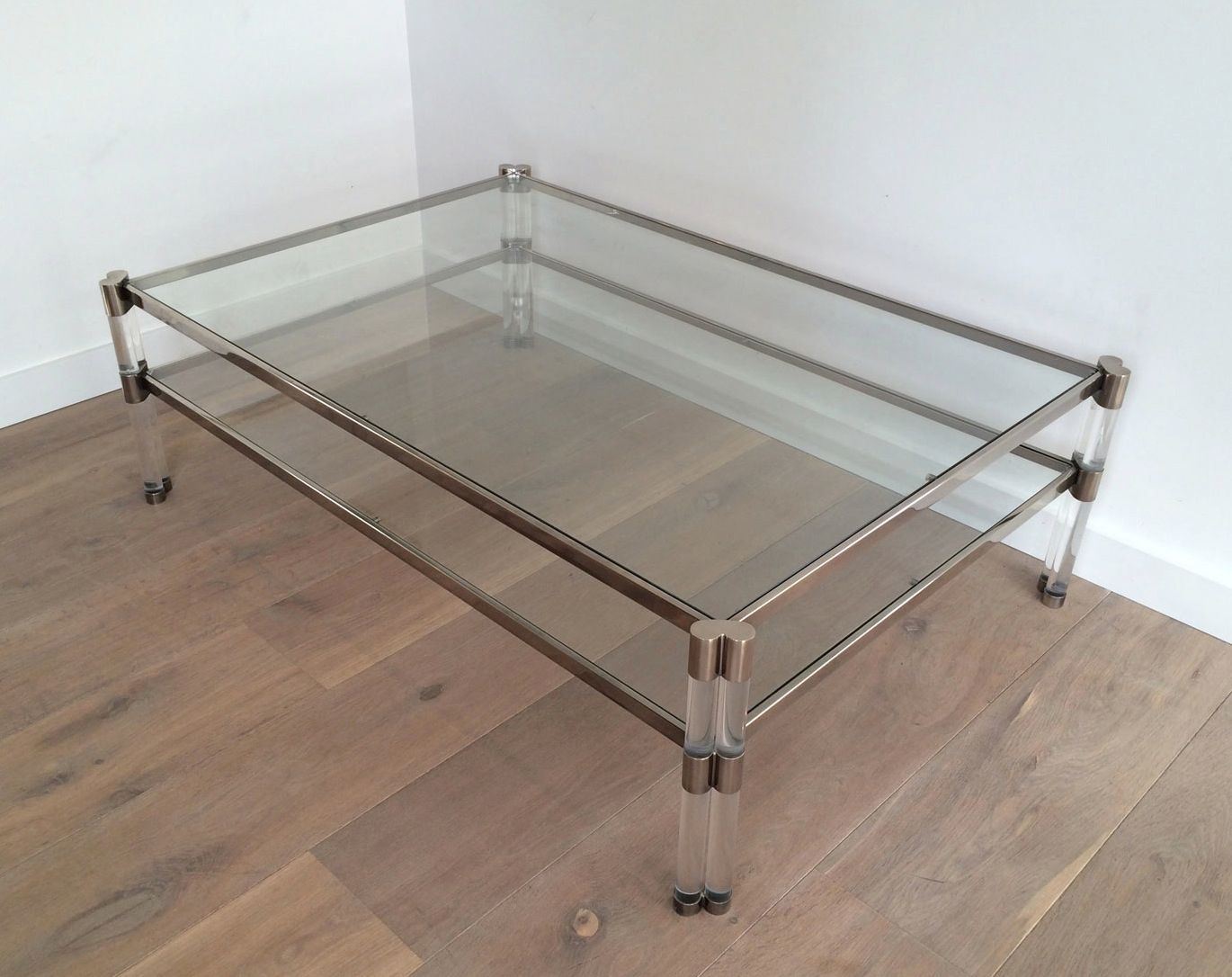 large plexiglass chromed coffee table 1970s for sale at. Black Bedroom Furniture Sets. Home Design Ideas