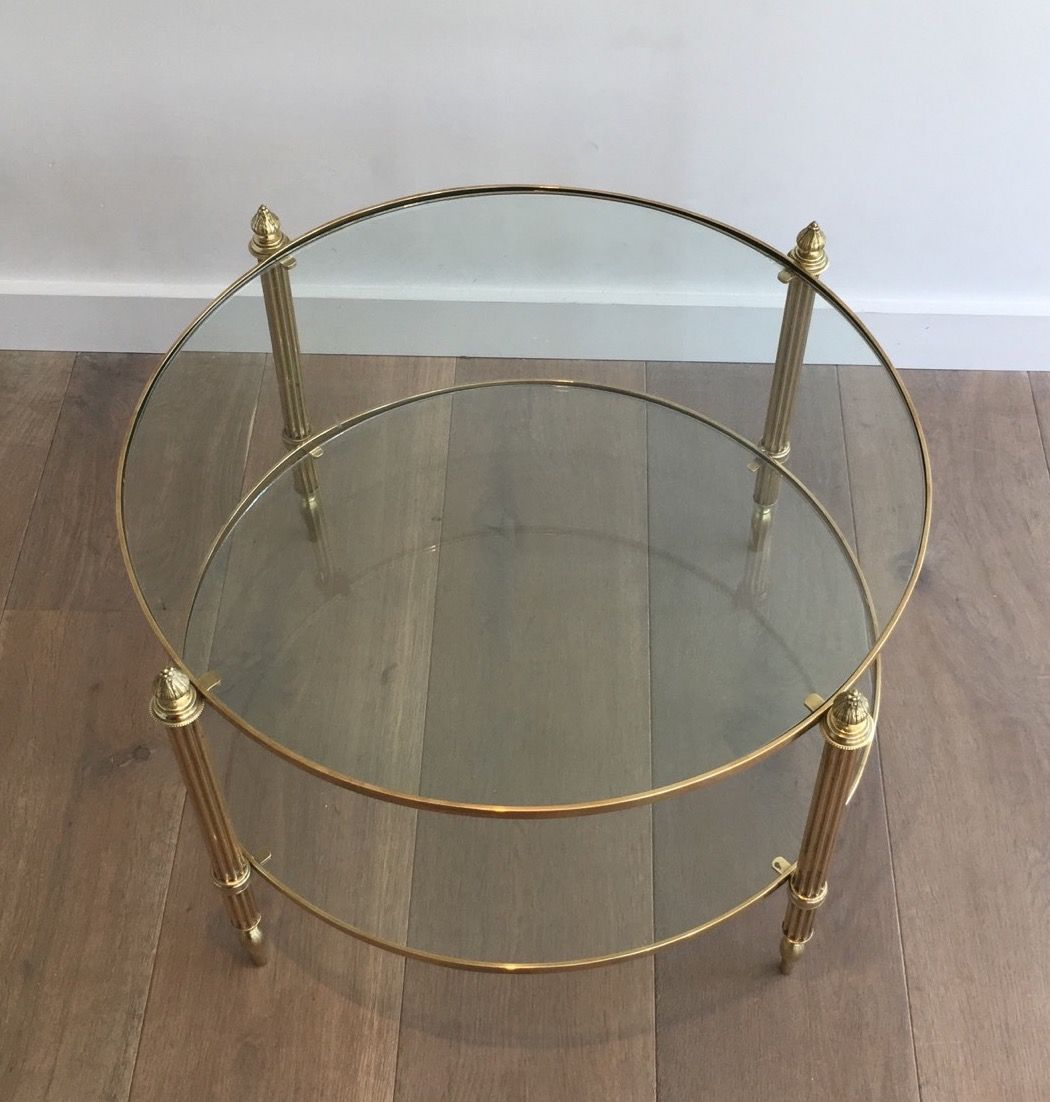 Jansen Coffee Table Small Round Brass Coffee Table From Maison Jansen 1940s For Sale