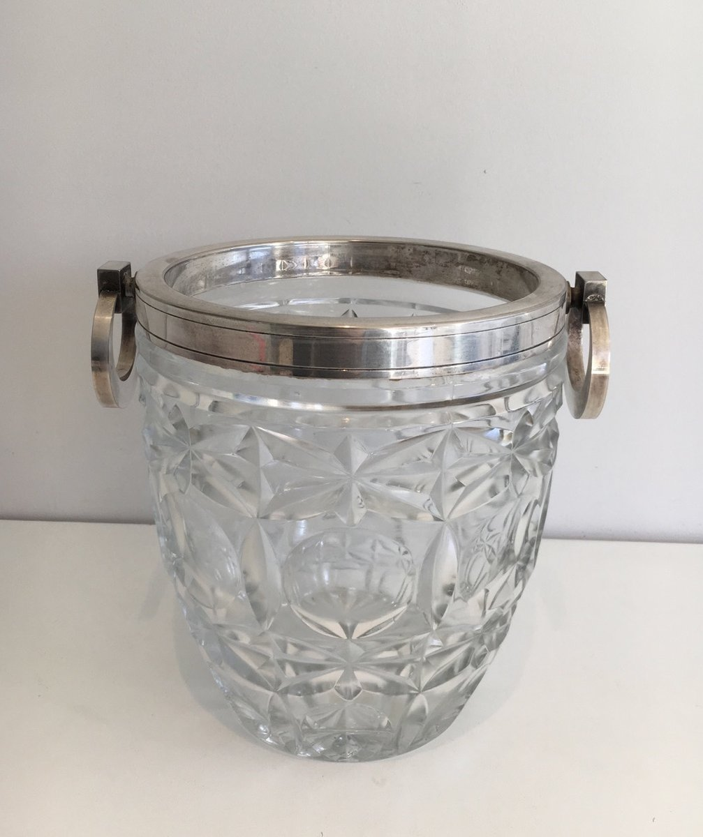 crystal and silver metal champagne bucket 1930s for sale at pamono. Black Bedroom Furniture Sets. Home Design Ideas
