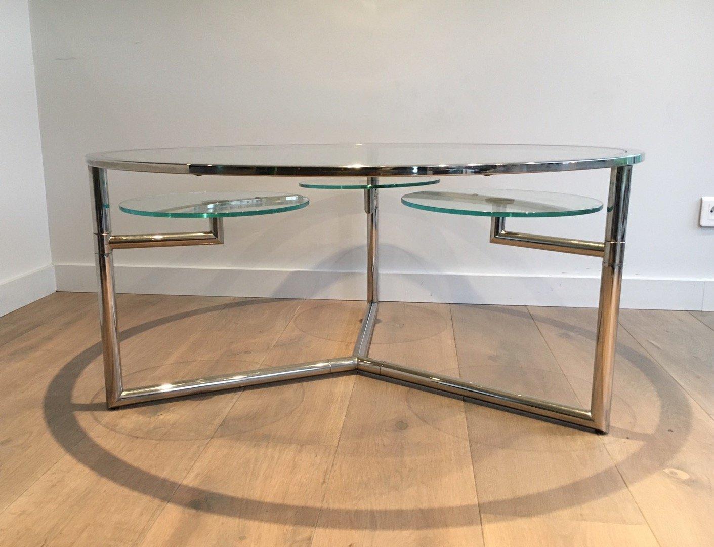 Table basse ronde avec plateaux amovibles en verre 1970s for Table basse ronde en verre